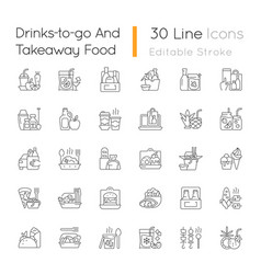 Drinks to go and takeaway food linear icons set vector