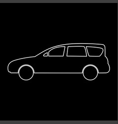 family car white color path icon vector image