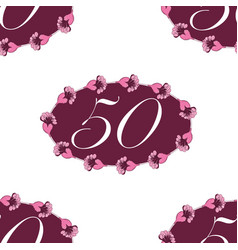 Fifthieth celebration floral frame seamless vector