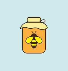 Flat honey jar with bee icon on blue background vector