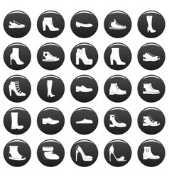 Footwear shoes icon set vetor black vector