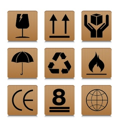 Fragile symbol set with brown cardboard texture vector