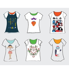 Funny t-shirts designs vector image