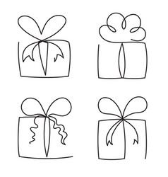 gift box continuous line set vector image