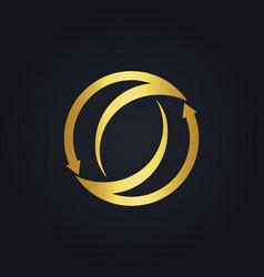 Gold arrow circle abstract logo vector