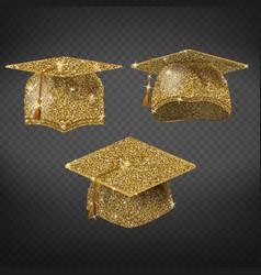 golden graduation hat sparkling academic vector image
