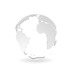 Grey 3d outline globe design vector image