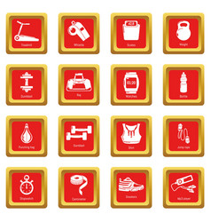 gym sport icons set red square vector image