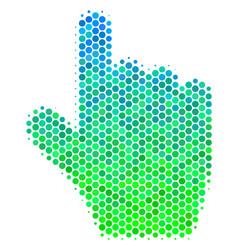 Halftone blue-green pointer finger icon vector