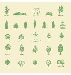 hand drawing tree set vector image