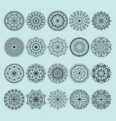 Hand drawn henna abstract mandala pattern flowers vector