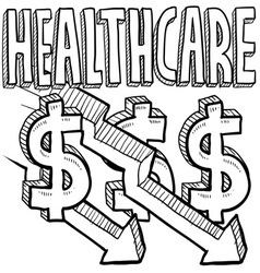 Healthcare costs decrease vector image