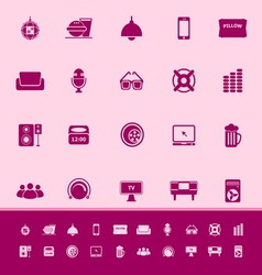 Home theater color icons on pink background vector