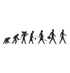 human evolution silhouette monkey ape and caveman vector image