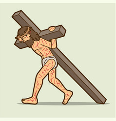 jesus christ carrying cross cartoon graphic vector image