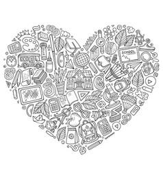 Line art hand drawn set school cartoon vector