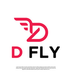 Logo initials letter d with wings vector