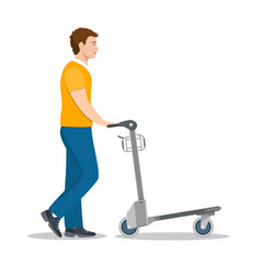 man pushing luggage cart with suitcases vector image