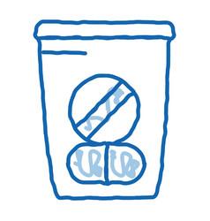 Medicine bag supplements doodle icon hand drawn vector