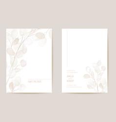 minimal dried honesty flower invitation card vector image
