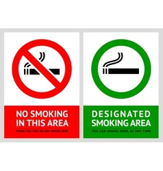 No smoking and Smoking area labels - Set 13 vector