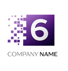 Number six logo symbol in the colorful square on vector