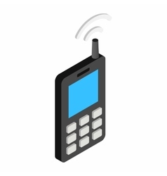 Old mobile telephone isometric 3d icon vector image