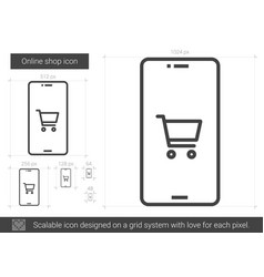 Online shop line icon vector