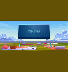 outdoor cinema open air movie theater with seats vector image
