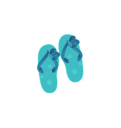 Pair of blue beach women sleepers decorated with vector