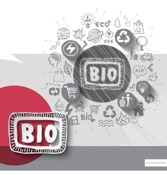 Paper and hand drawn bio emblem with icons vector image