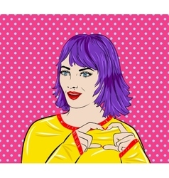 Pop art surprised woman face with mouth comic vector