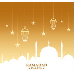 ramadan kareem card with mosque and lanterns vector image