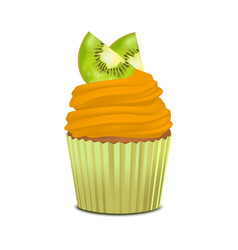 realistic detailed 3d cupcake with kiwi vector image