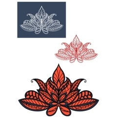 Red lace indian flower with paisley pattern vector image