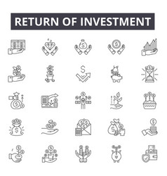return investment line icons signs set vector image