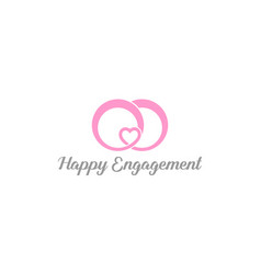Rings symbol with love for engagement or wedding vector