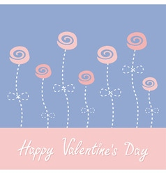 Roses with dash line stalks Happy Valentines Day vector