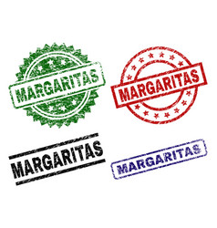 Scratched textured margaritas seal stamps vector