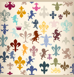 seamless wallpaper pattern with heraldic elements vector image