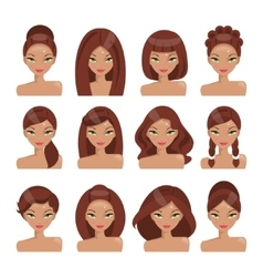 Set girls with different hairstyles vector