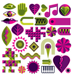 Set of abstract art symbols different modern vector