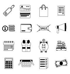 Set of black flat shopping icons sale vector image