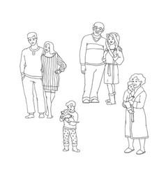 set of happy family members in vector image