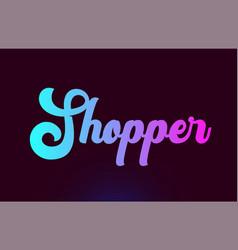 Shopper pink word text logo icon design for vector