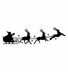 silhouette of santa claus on sleigh vector image