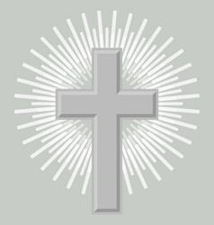 Silver orthodox crucifix icon isolated vector