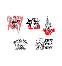 Skull halloween party set element vector