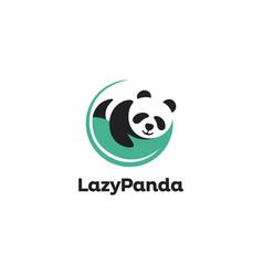 sleepy panda logo lazy panda logo icon template vector image