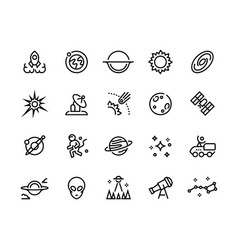 space line icons futuristic cosmos and astronomy vector image